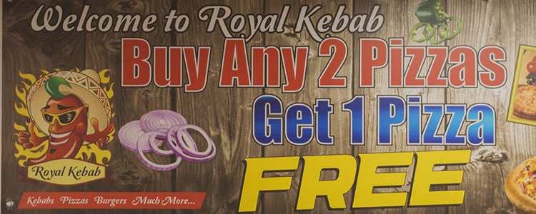 Buy 2 Pizza at Royal Kebab House, Winford Get 1 FREE